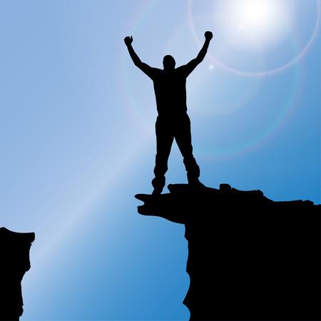 climbing sport: silhouette of a man who climbs rocks.