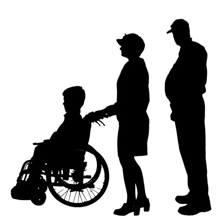 silhouette of a family in a wheelchair. Vector