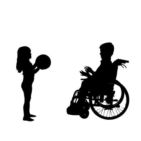 niños discapacitados: silueta de un niño en una silla de ruedas.