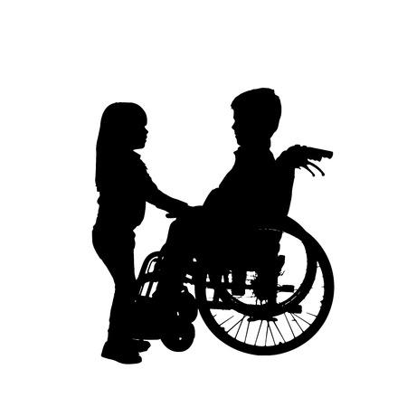 silueta de un niño en una silla de ruedas.