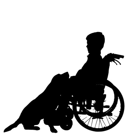 silhouette of a boy in a wheelchair. Vector