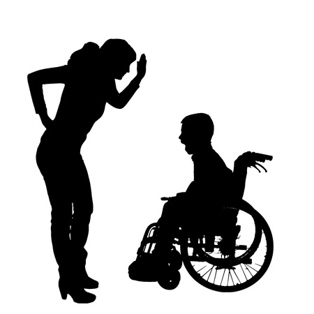 smack: silhouette of a family in a wheelchair. Illustration