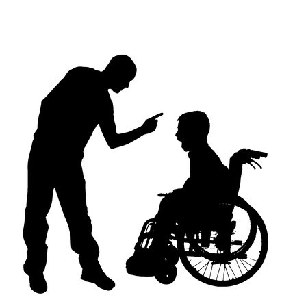 hassle: silhouette of a family in a wheelchair. Illustration