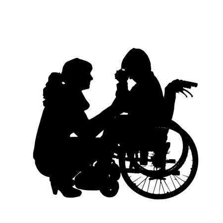 unhappy family: silhouette of a family in a wheelchair. Illustration