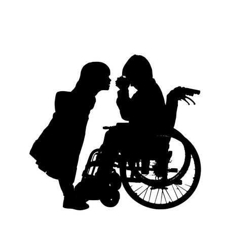 silhouette of a boy in a wheelchair. Vector