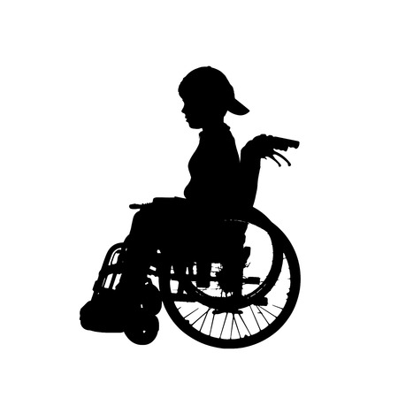 child sitting: silhouette of a boy in a wheelchair. Illustration