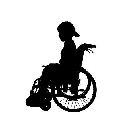 children: silhouette of a boy in a wheelchair. Illustration