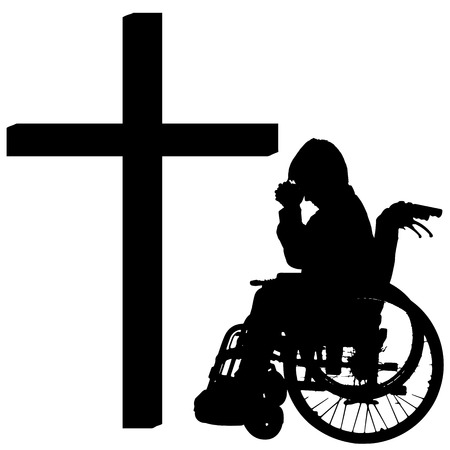 silhouettes of boy at the Cross on white background. Vector