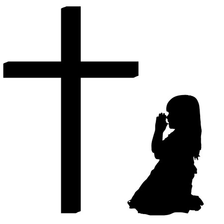 fanaticism: silhouettes of girl at the Cross on white background.
