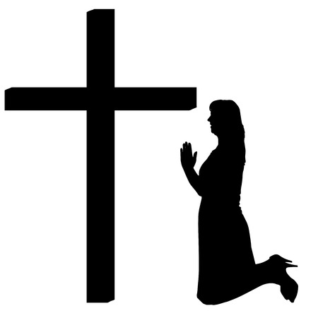 fanaticism: silhouettes of woman at the Cross on white background.