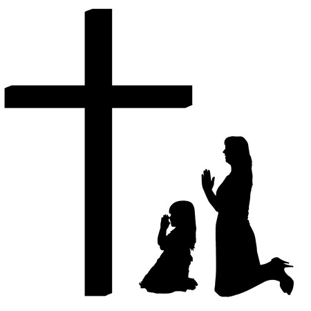 fanatics: silhouettes of woman at the Cross on white background.
