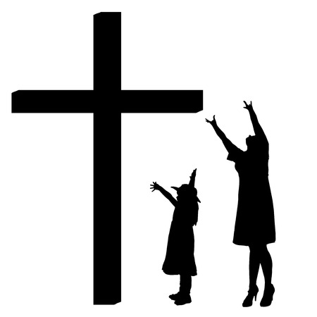 fanatics: silhouettes of family at the Cross on white background. Illustration