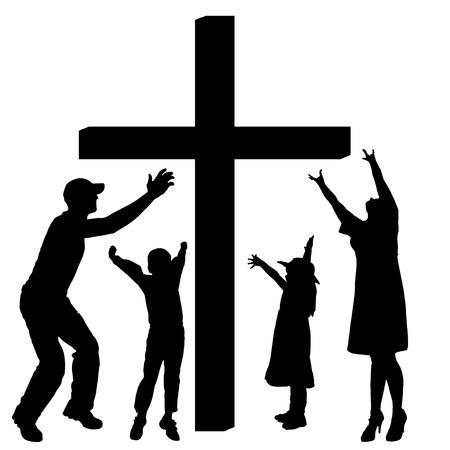 familia orando: siluetas de la familia en la Cruz en el fondo blanco.