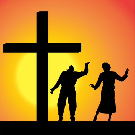 fanaticism: silhouettes of people at the Cross at sunset.