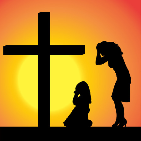 silhouettes of family at the Cross at sunset. Vector