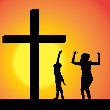 fanatics: silhouettes of family at the Cross at sunset. Illustration
