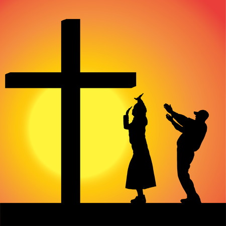 fanatics: silhouettes of people at the Cross at sunset.