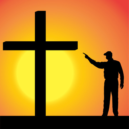 fanatics: silhouettes of man at the Cross at sunset.