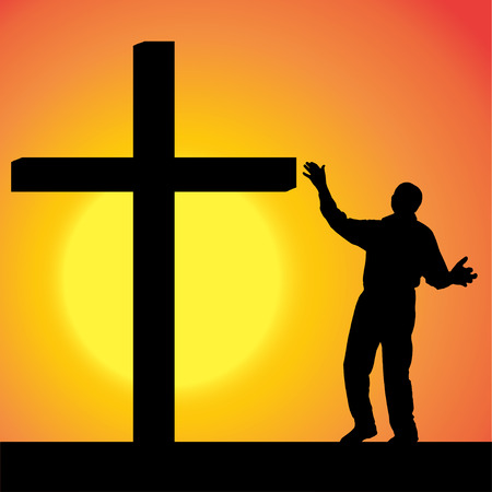 fanaticism: silhouettes of man at the Cross at sunset.