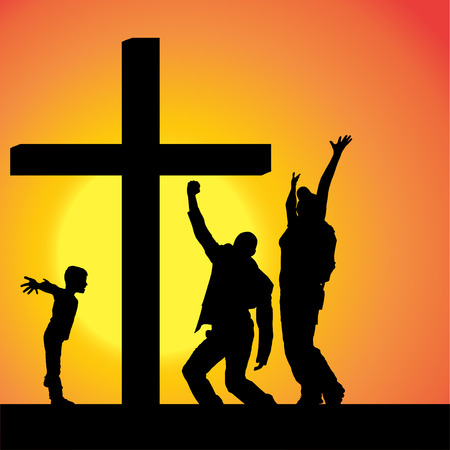 son of god: silhouettes of family at the Cross at sunset. Illustration
