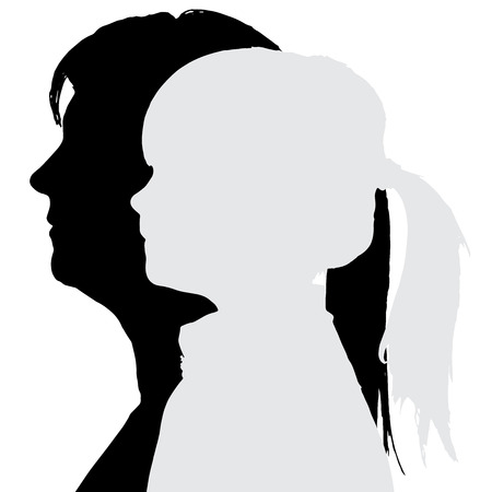 mom daughter: silhouettes family in profile on white background.