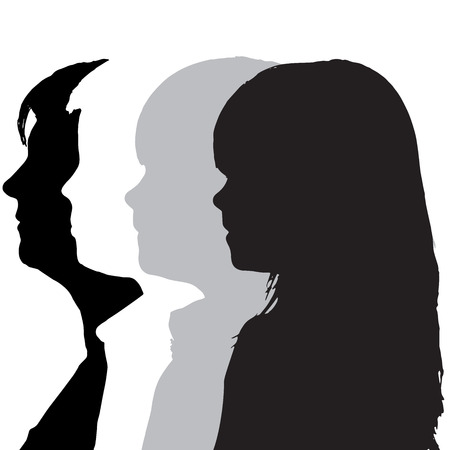 pretty black woman: silhouettes family in profile on white background.
