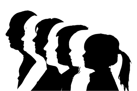 young woman face: silhouettes family in profile on white background.