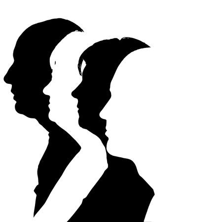 De silhouetten van mensen in profiel op een witte achtergrond. Stock Illustratie