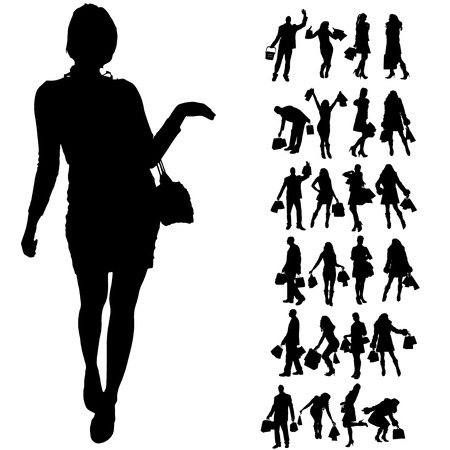 silhouette of people on a white background. Vector