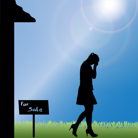 silhouette of a woman standing in front of the house. Vector