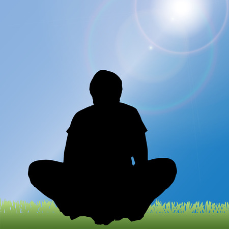 yoga outside: silhouette of a woman in nature.  Illustration