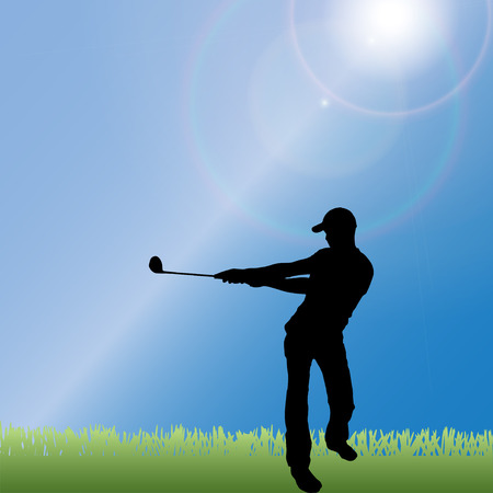 silhouette of a man playing golf. Vector