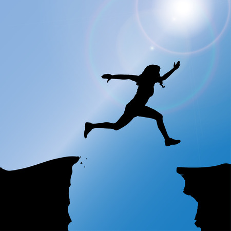 silhouette of a woman who jumps over rocks. Vector