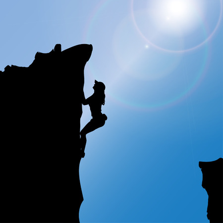 climbing wall: silhouette of a woman who climbs rocks.