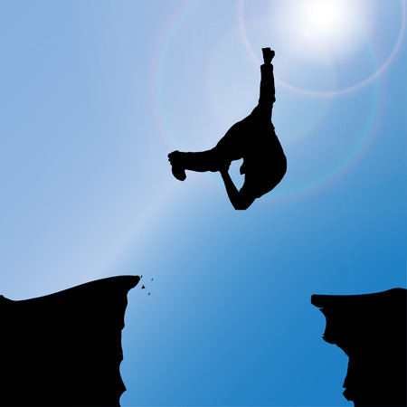 silhouette of a man who jumps over rocks. Vector
