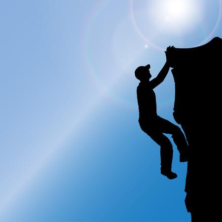 climbing wall: silhouette of a man who climbs rocks.