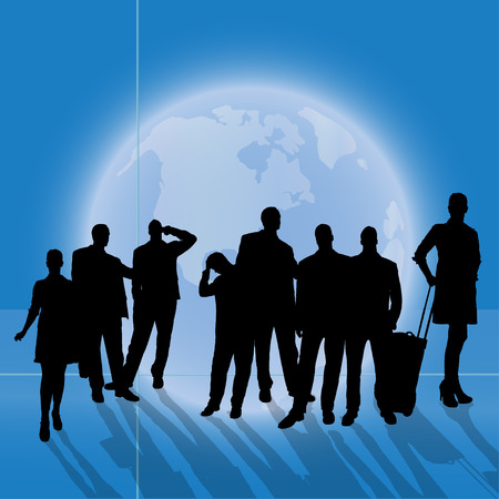 Vector silhouette business people on background of the planet Earth. Vector