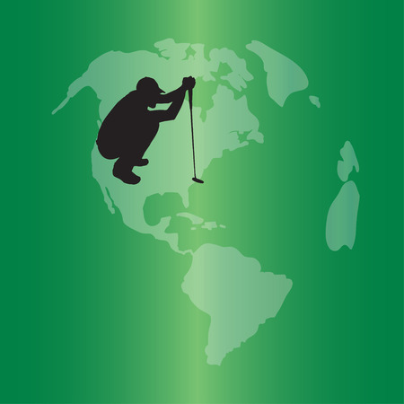 Vector silhouette of the globe on a green background. Vector