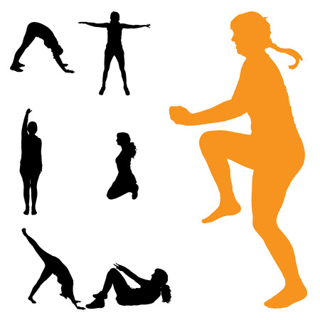 практика: Вектор силуэт женщины, которые практикуют на белом фоне. Иллюстрация