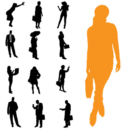 sexy umbrella: Vector silhouette of business people on a white background.
