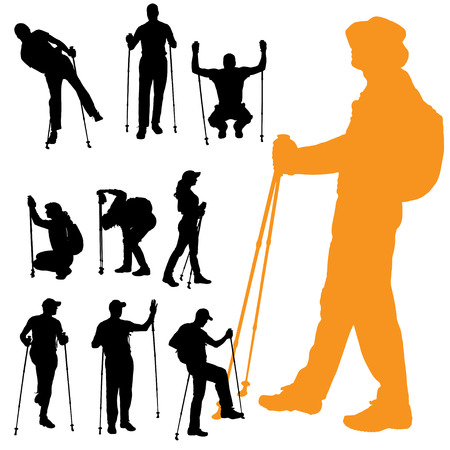 couple hiking: Vector silhouette of people with nordic walking.