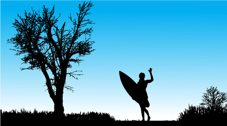surf girl: Vector silhouette of a woman with surfboard on a beautiful day. Illustration