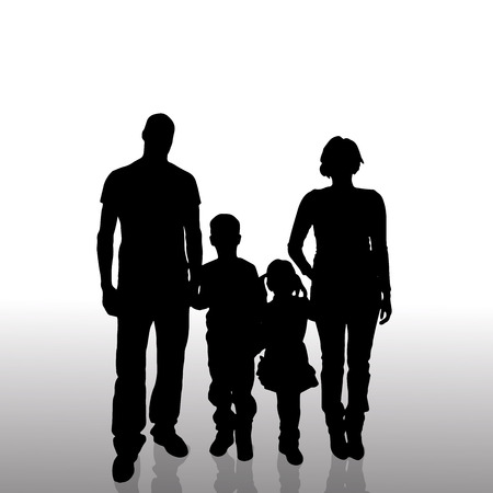 black family: Vector silhouette of family on a white background.  Illustration