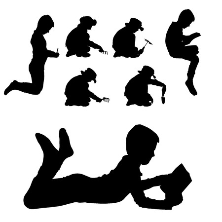 kids reading book: Vector silhouette of boy on a white background.