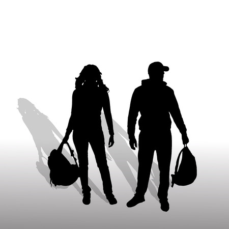 Vector silhouette of couple on a white background. Vector
