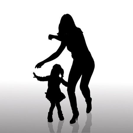 mom daughter: Vector silhouette of family on a white background.  Illustration