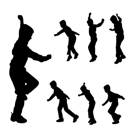 brat: Vector silhouette of boy on a white background.