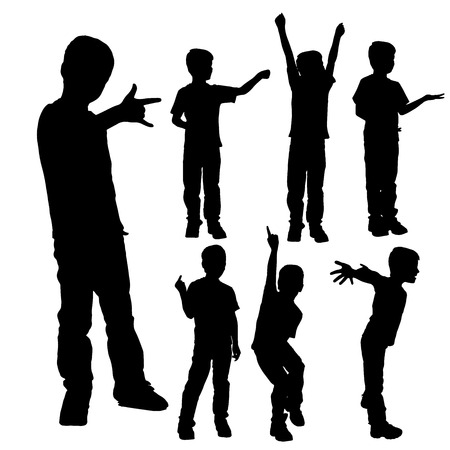 obscene gesture: Vector silhouette of boy on a white background.