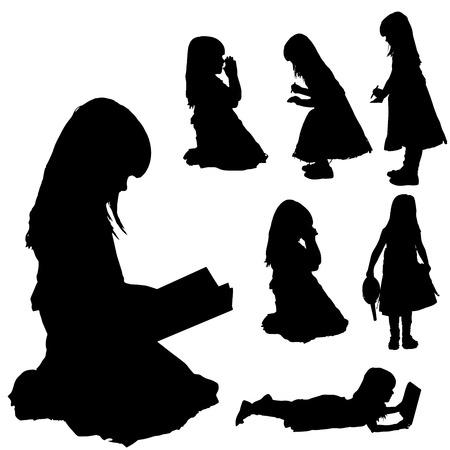 silueta niño: Vector silueta de la chica sobre un fondo blanco.