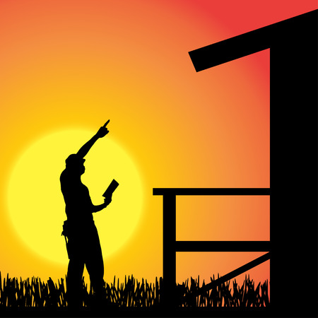 Vector silhouette of a man working on the house. Vector